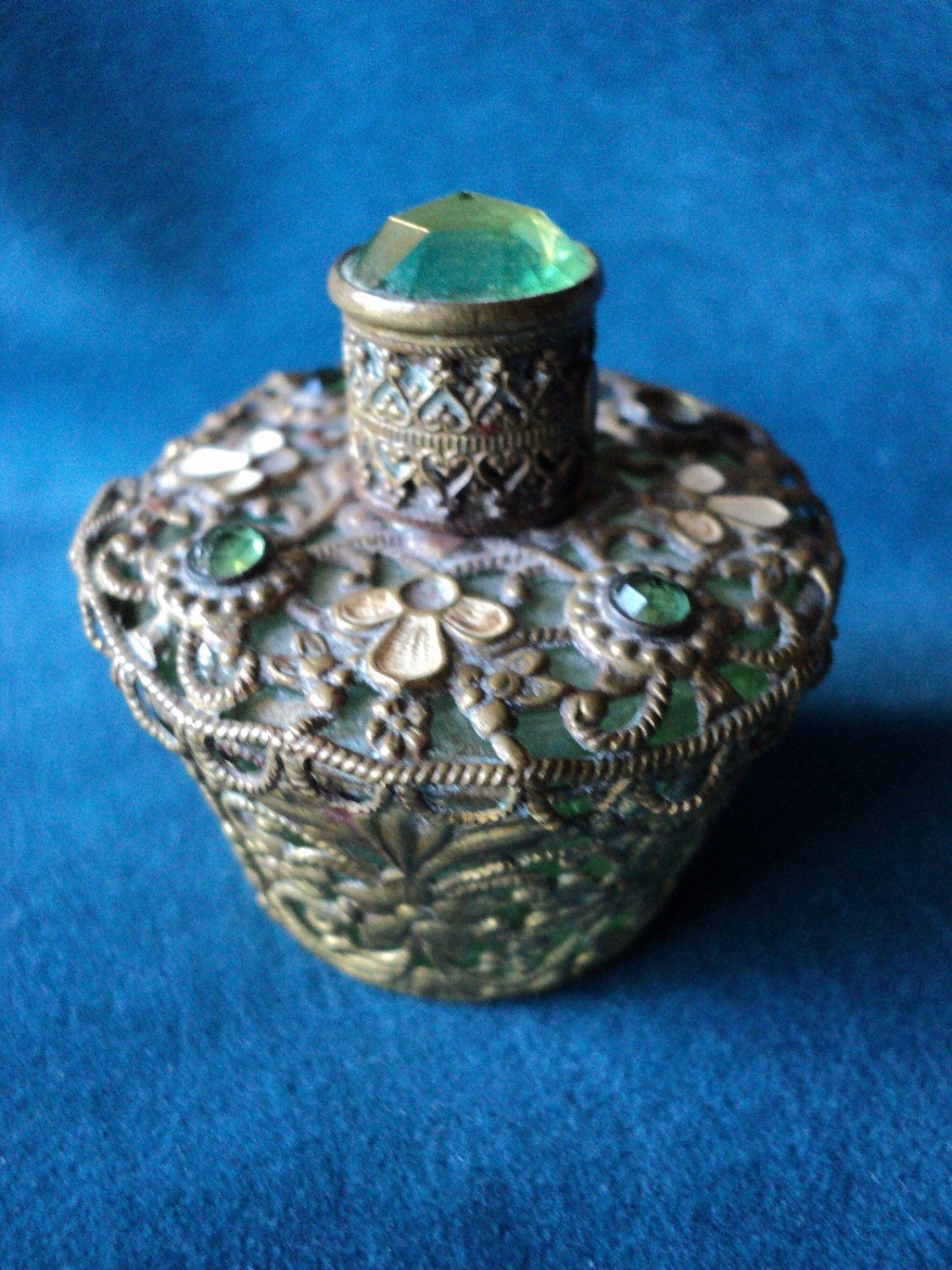 Antique Czech Painted Enamel Perfume Bottle w/Filligree & Ormulu Stone; Circa 1900's