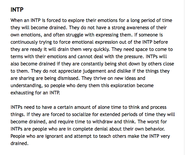 What drains an INTP