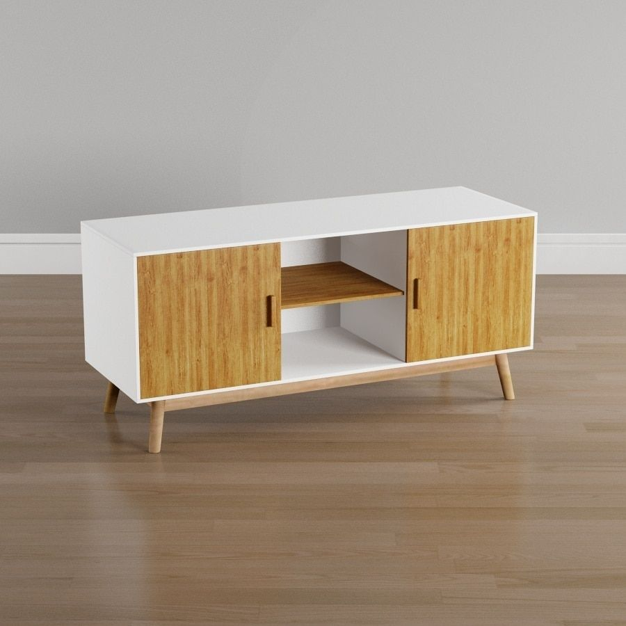 Convenience Concepts Oslo Tv Stand White With Woodgrain Doors