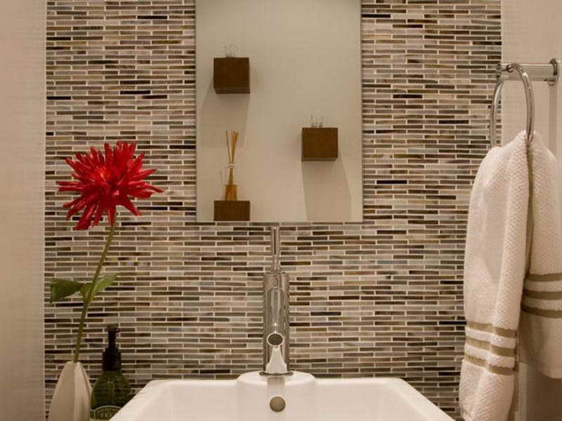 Cool Grey Mosaic Wall Tile With White Square Ceramic Washbasin And