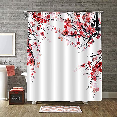 Amazon Com Mitovilla Red Plum Floral Shower Curtain Set With