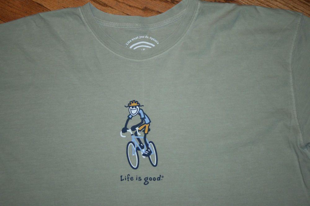 Life Is Good Jake Cycling Riding a Bicycle Bike T-Shirt tee