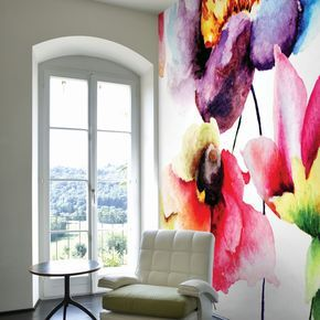 Watercolour Flora Digital Wall Mural large Desen Pinterest