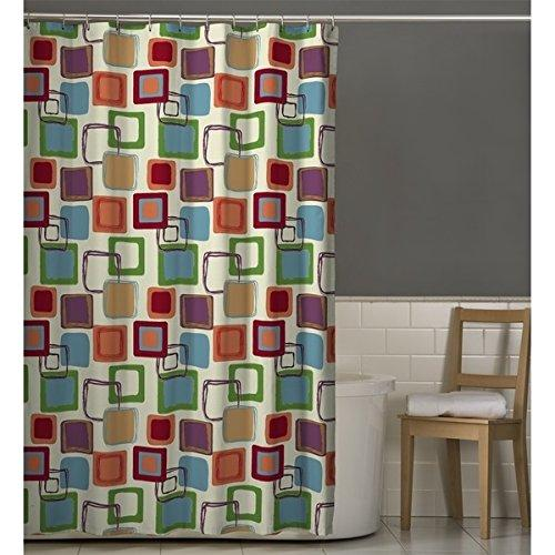 Red Green Geometric Pattern Shower Curtain Polyester Abstract Graphical Themed Detailed Colorful Square Box Printed Modern Elegant Design Artistic