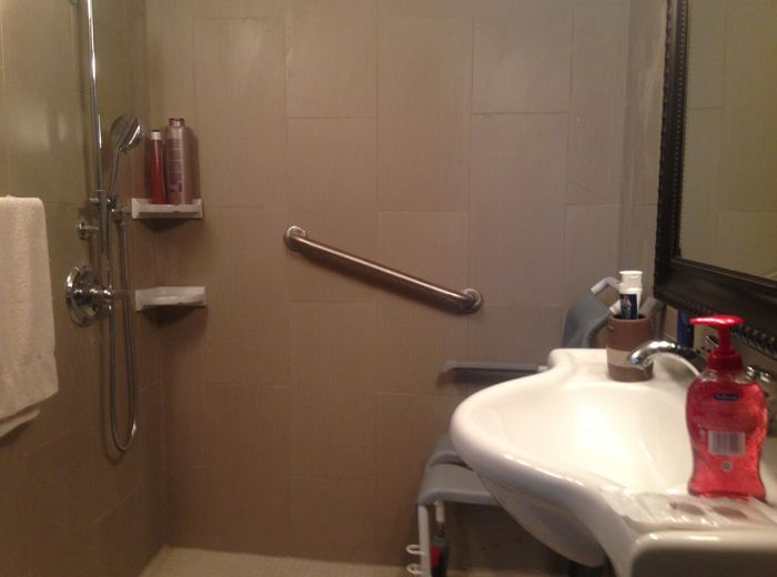 Disability bathroom conversion.Water-proofing the entire floor and ...