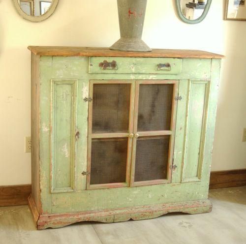 Large Primitive 1800u0027s Pie Safe Cupboard Cabinet