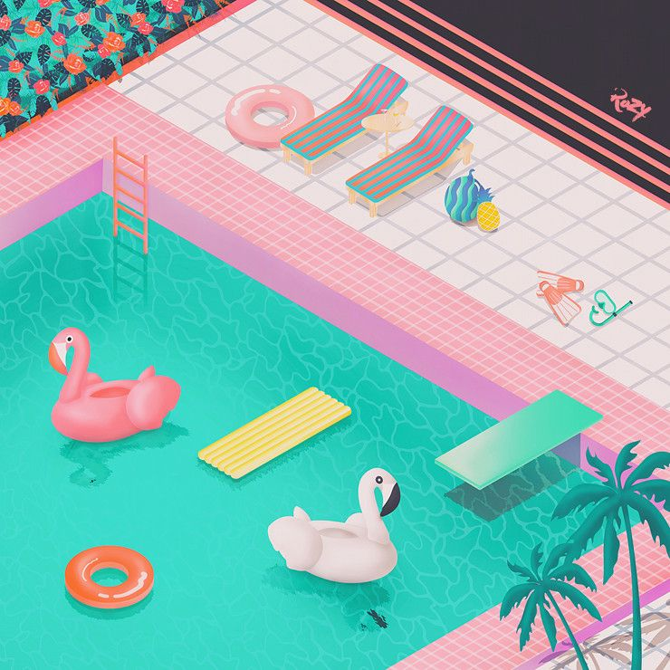 수영장 - 그래픽 디자인 · 일러스트레이션, 그래픽 디자인 ...