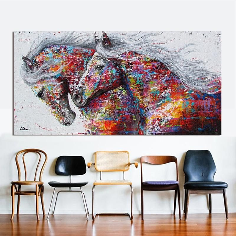Graffiti Art Two Running Horse Animal Painting Canvas Art Big Size Wall Pictures For Living Room Canvas Pr Horse Canvas Painting Horse Wall Art Animal Wall Art
