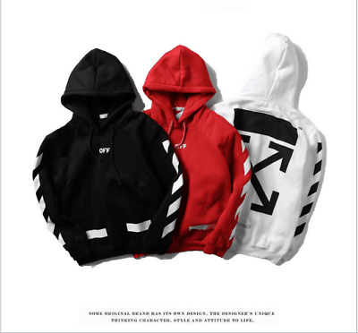 New 18ss Off White Striped Hooded Hoodie Sweater Hoodies Sweatshirtska Hoodies Women Hoodies Sweatshirts Boys Hoodies