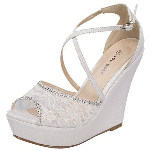 White Wedge Lace Rhinestone Sandals