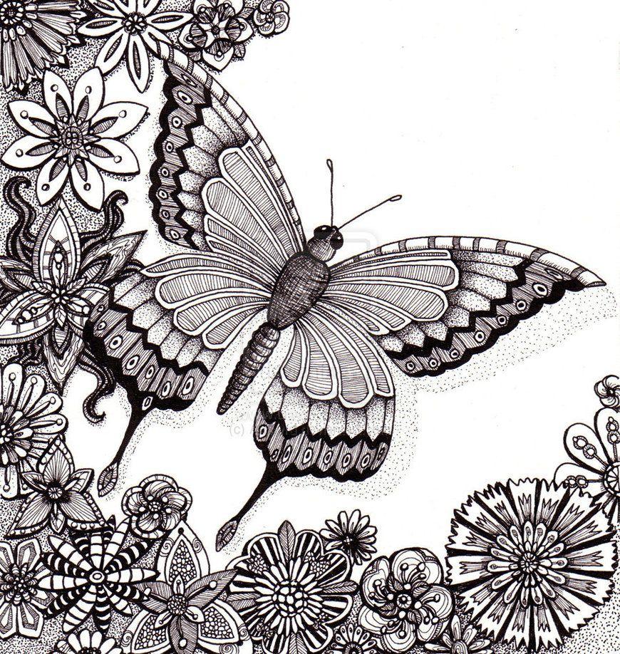 Traditional Black And White On Spirals And Swirls Deviantart Zentangle Kunst Vlinder Tekening Kunst Ideeen