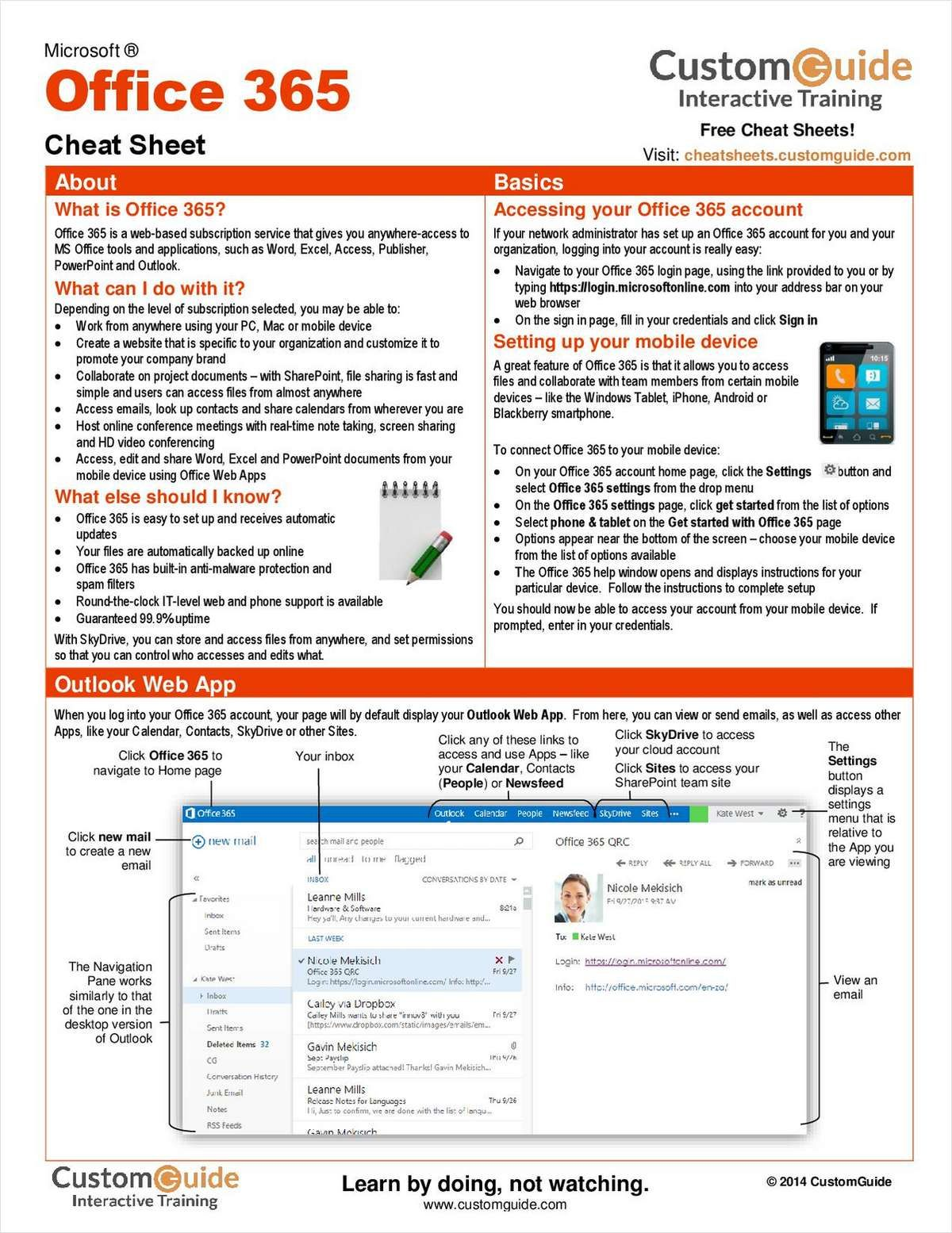 Microsoft Office 365 Free Cheat Sheet Office 365