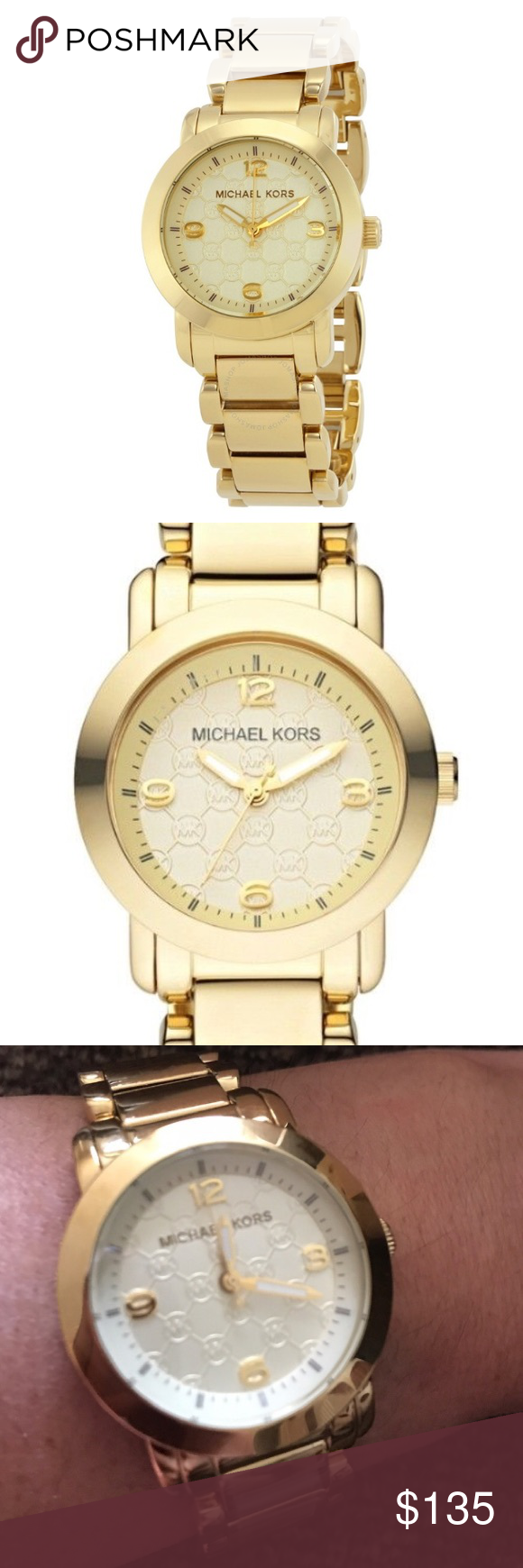 8779fa95fede NWT MICHAEL KORS GOLD TONE MK LOGO WATCH This is BRAND NEW with plastic  over face and behind dial. Never worn just modeled for this advertisement.