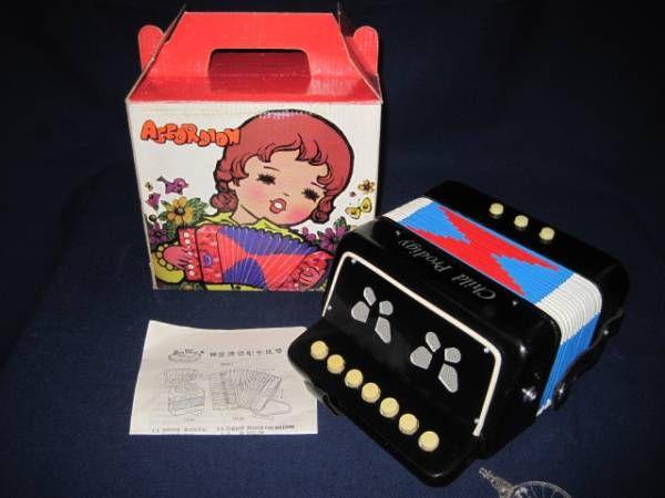 昭和レトロ? ミニアコーディオン おもちゃ 楽器 中国制造 中古_画像1