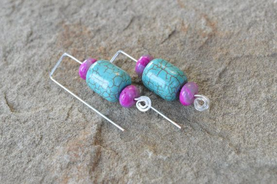 These are chic and simple gemstone earrings, perfect for everyday wear! Each of these earring feature a turquoise howlite column bead, and two