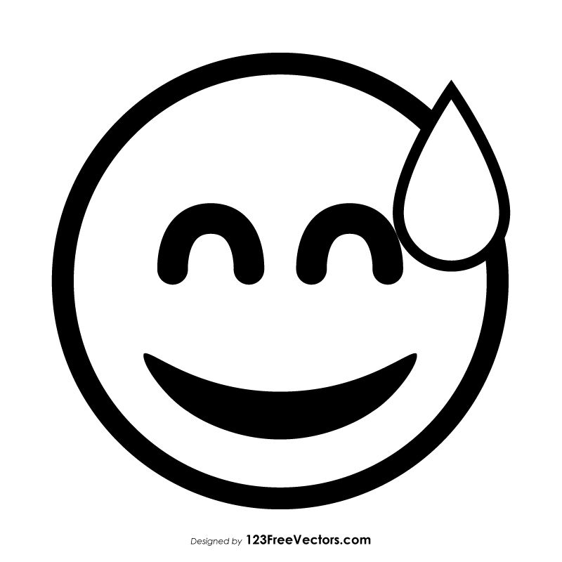 Grinning Face With Sweat Emoji Outline Emoji Printable Coloring Book Coloring Book Pages