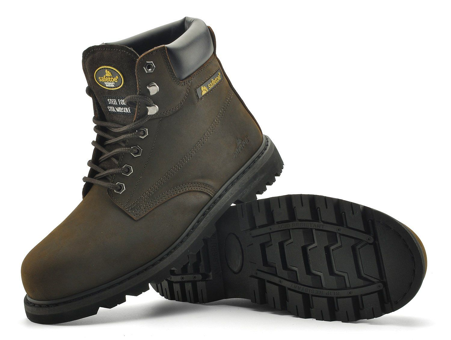 21d6b47c85f Safetoe Mens Safety Boots Steel Toe Leather WaterResistant Work Boot ...
