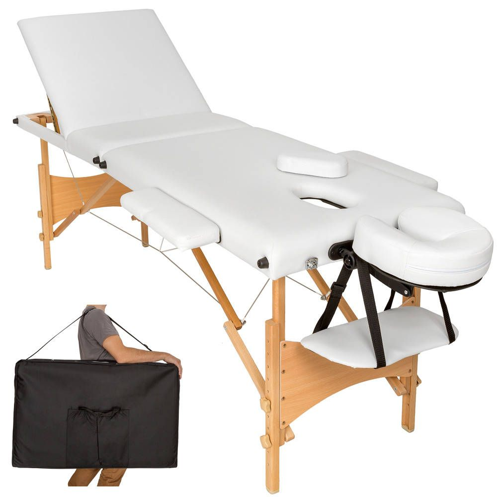 Table De Massage Pliante 3 Zones Bois Cosmetique Portable Noir Massage Liege Massagetisch Polster
