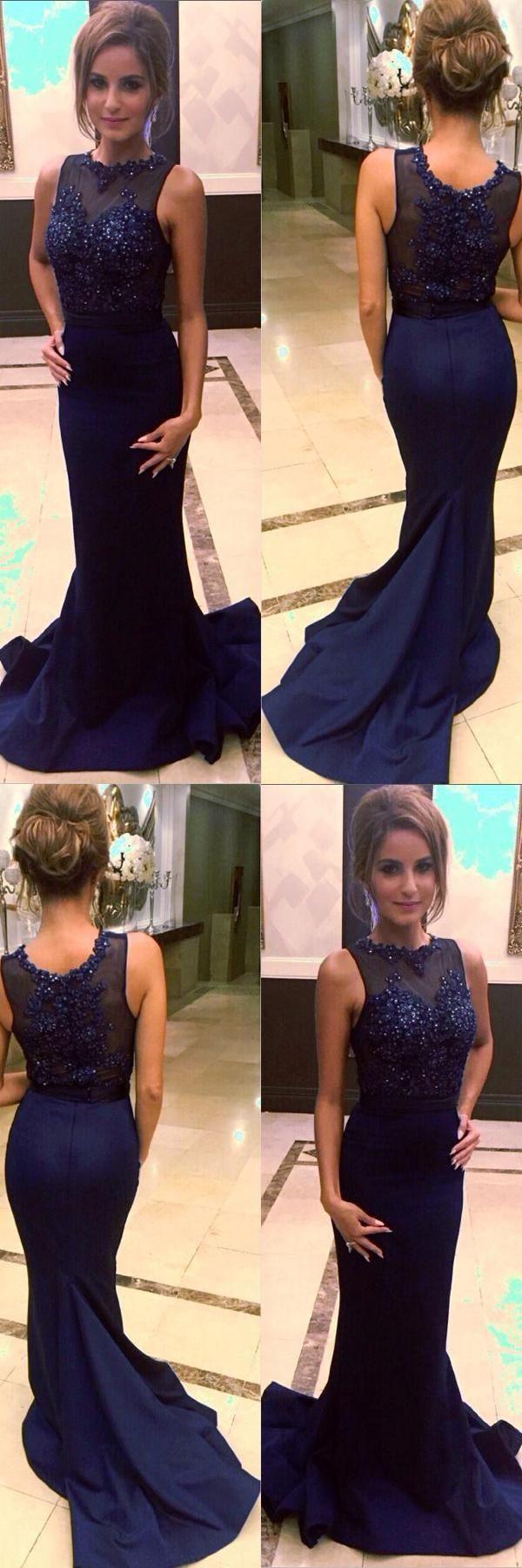 Custom made distinct navy blue prom dresses blue prom dresses