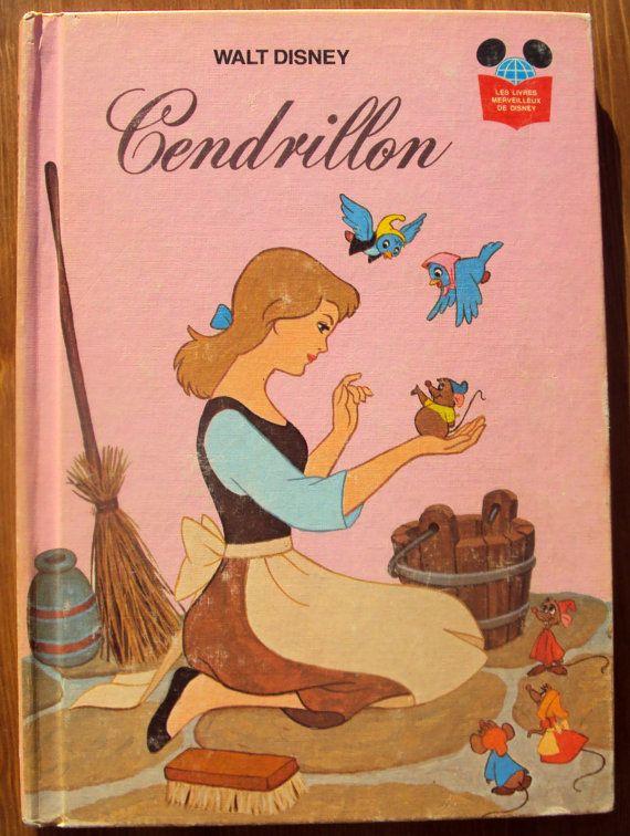 Walt Disney's Cendrillon (1976) - Cinderella - Vintage French Childrens Book #cinderella