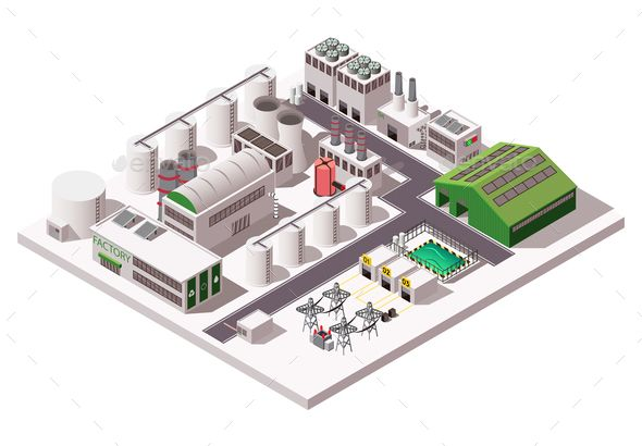 Factory Isometric Composition Business cards creative