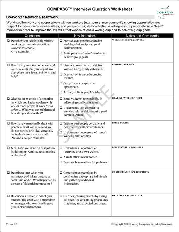 Compass Interview Question Worksheet The Office Sample Job