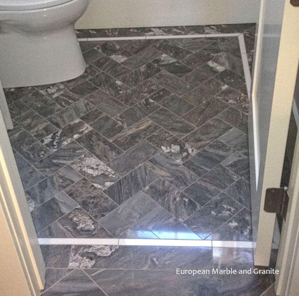 Palisandro Bluette Marble In A Herringbone Pattern Floor Bordered With Thos Installed By European And Granite Salt Lake City Utah