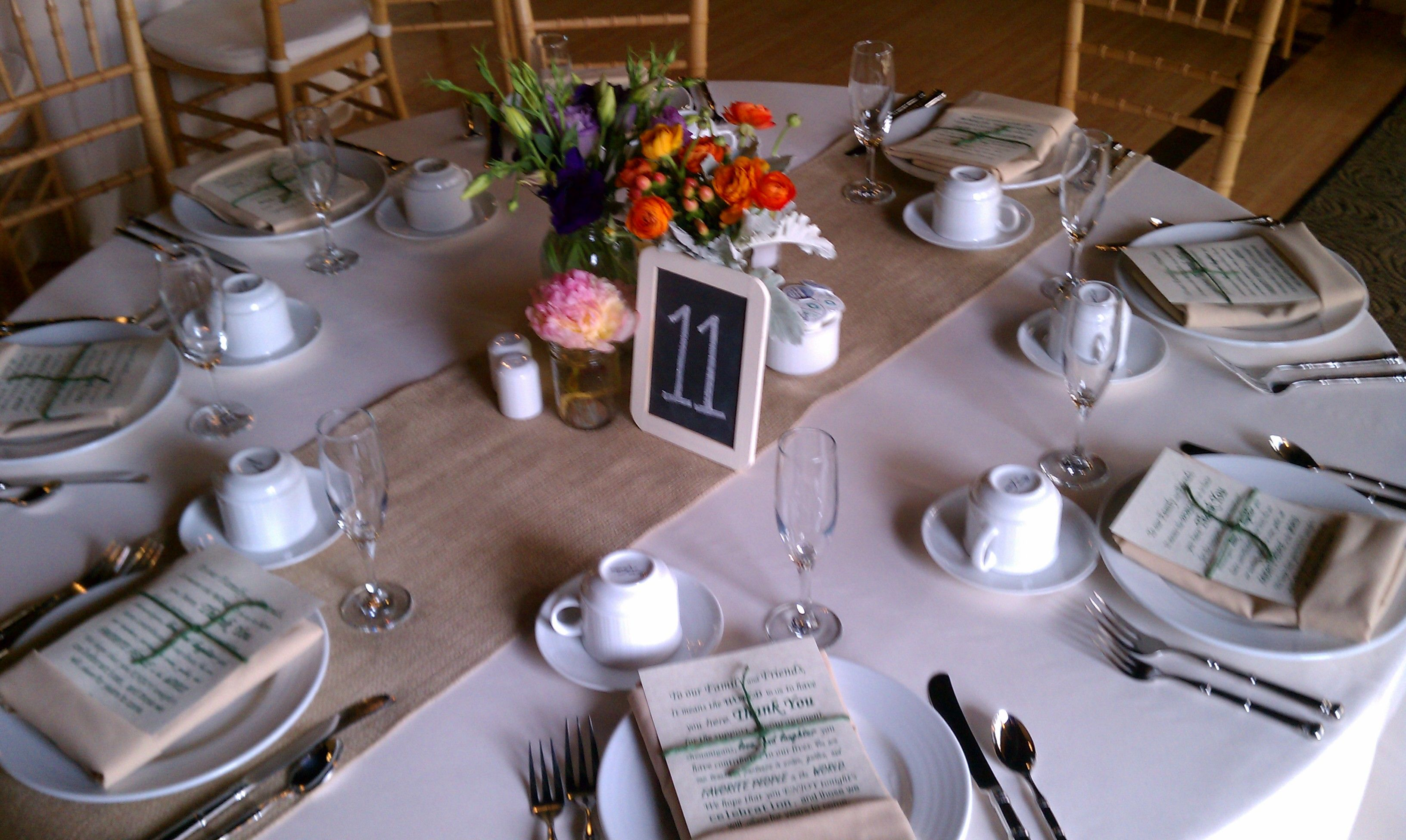 wedding planning table settings with burlap