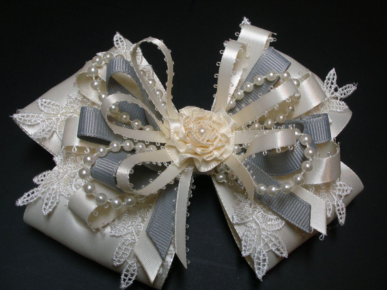 gray & ivory satin hair bow big