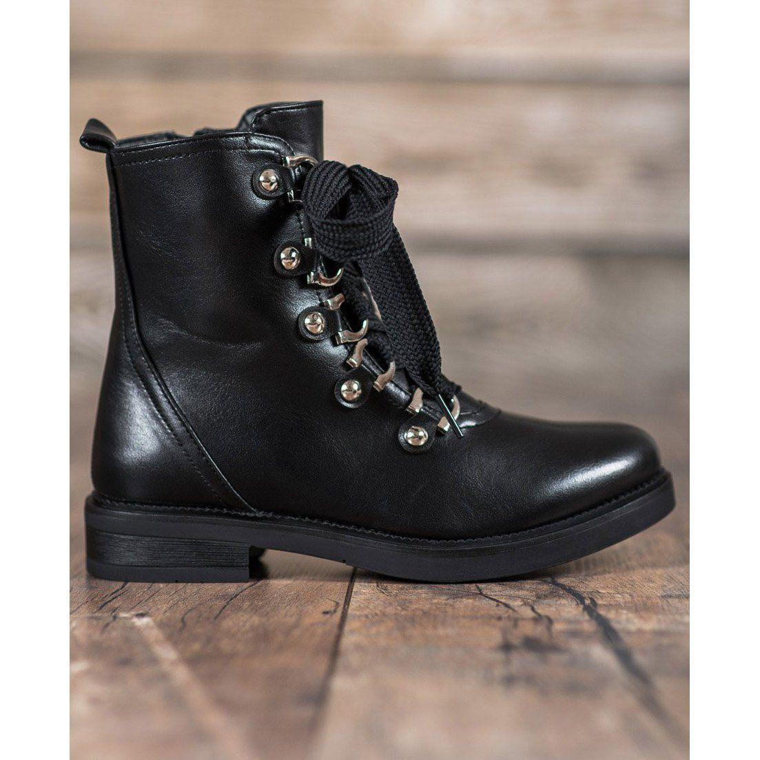 Damskie Shelovet Shelovet Sznurowane Botki Biker Boot Shoes Boots