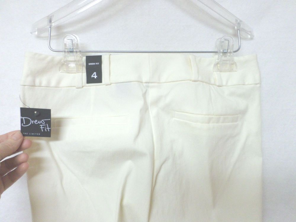 NWT The Limited Drew Fit size 4 Pants Dress Stretch Cream Off White Viscose #TheLimited #DressPants