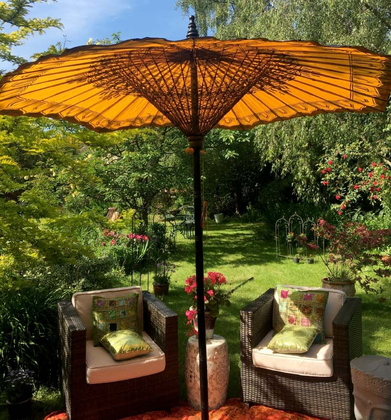 Hexagonal Umbrella Parasol Orange And Black Luxury