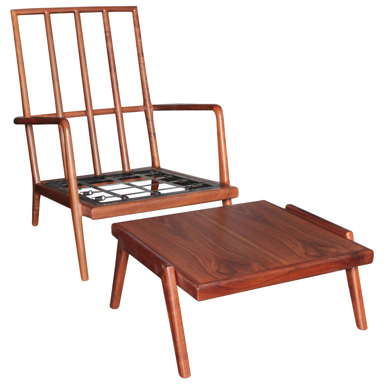 High Backed Walnut Lounge Chair and Ottoman by Mel Smilow for Smilow Furniture ca.1950