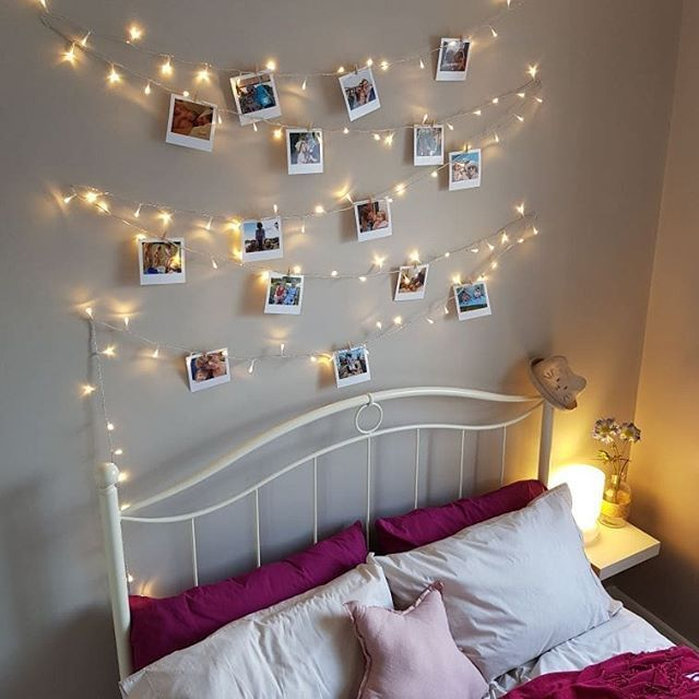 Totally Inspired By Lisa Dawson Fairy Lights Photo Wall Polaroid Pictures Dou College Bedroom Design Bedroom Wall Decor Above Bed Fairy Lights Bedroom Wall