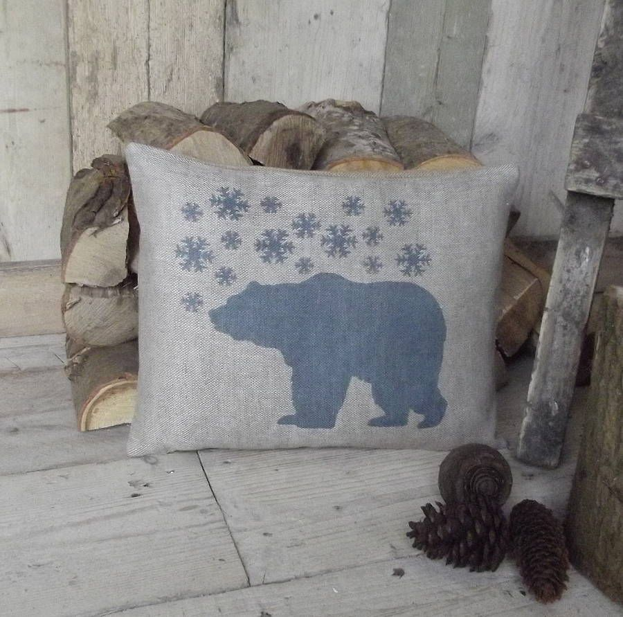 polar bear and snowflake linen cushion by rustic country crafts | notonthehighstreet.com
