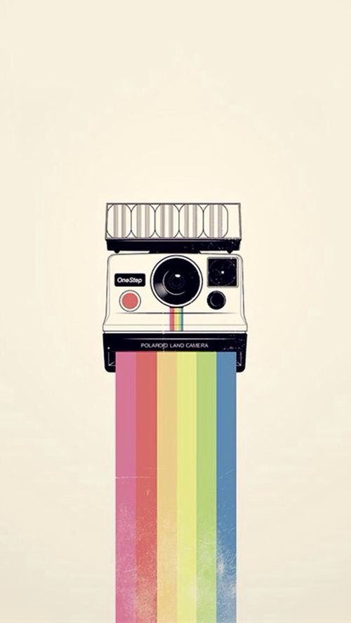 Polaroid Camera And Rainbow Land One Step Print Instagram Art