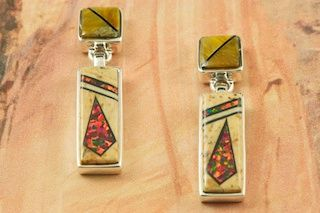 Jasper and black jade earrings with fire and ice opal accents by Navajo artist Calvin Begay