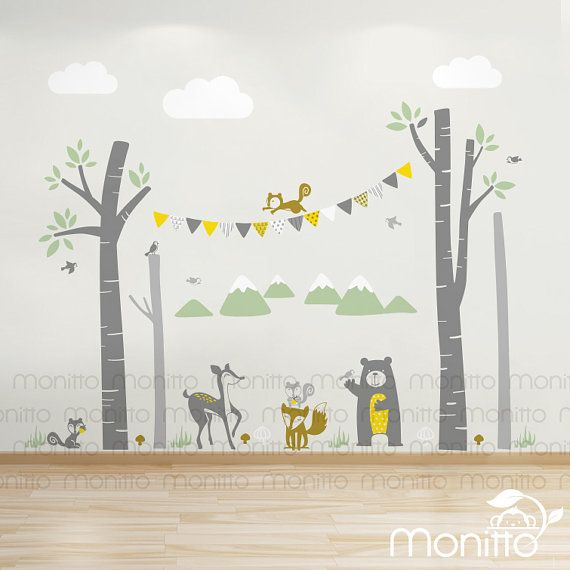 Woodland With Bunting And Animals Bear Deer Fox Squirrels Nursery Wall Decals Playroom Wall Fox Squirrel