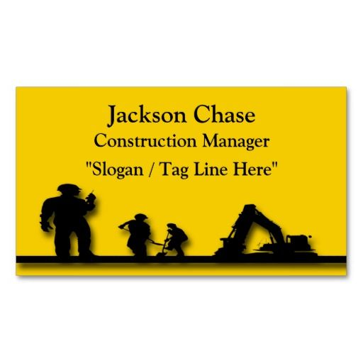 Personalized construction workers equipment business card template personalized construction workers equipment business card template that features a construction yellow background with a black colourmoves Images