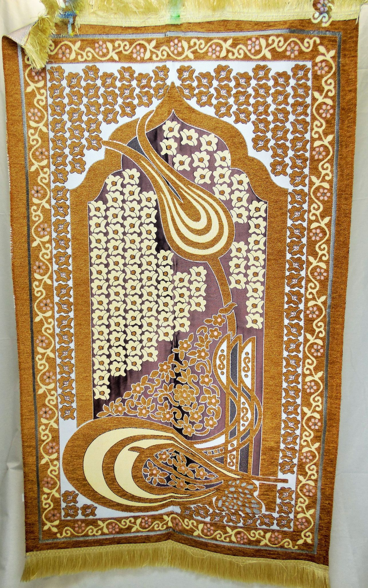 International Goods Depot Muslim Pray Rug Namaz Sajadah Mat Series Tughra Mustard Colored 27 X 45
