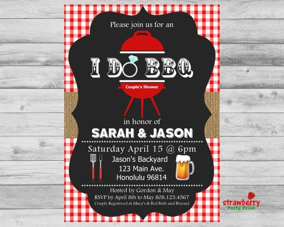 i do bbq couples shower invitation engagement party barbeque