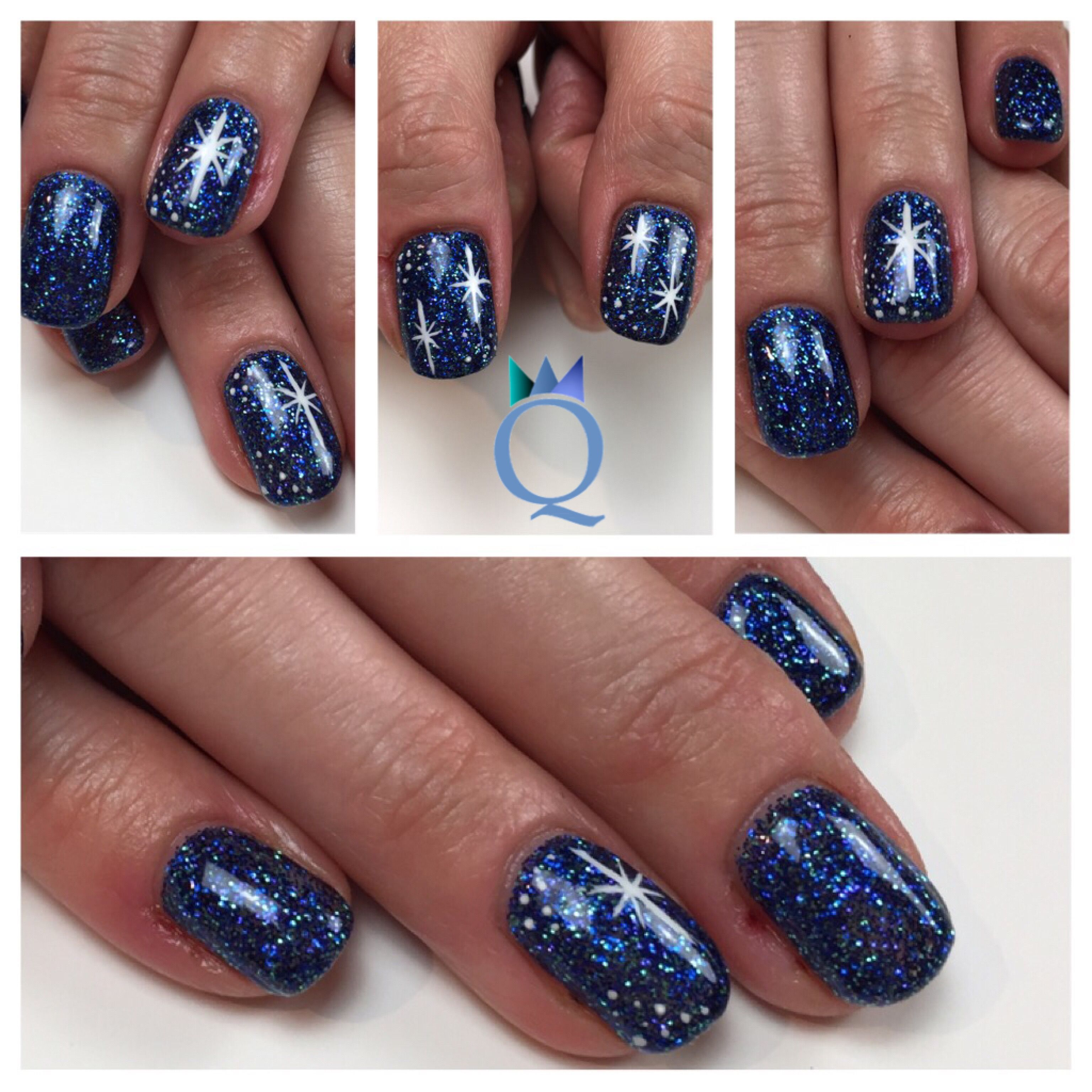 shortnails #gelnails #nails #blue #glitter #white #handpainted ...