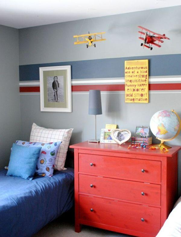 kinderzimmer für jungs bett farbige wandgestaltung Kinderzimmer - schlafzimmerwandfarbe fr jungs