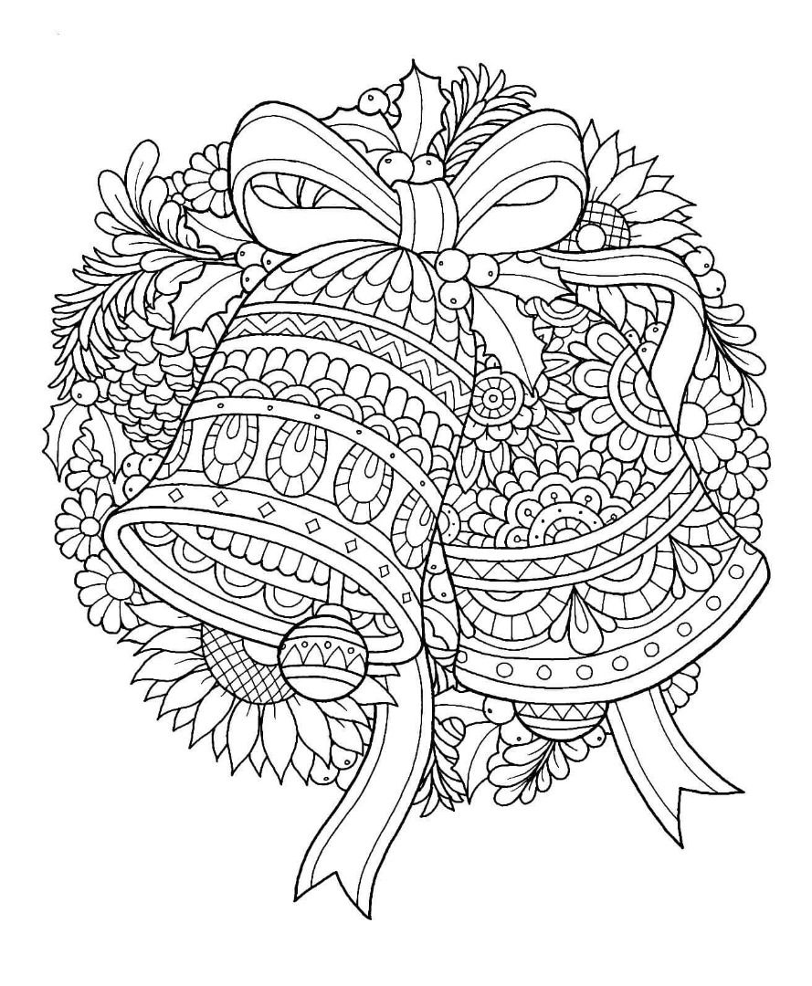 Christmas Bells Coloring Page | Design Patterns | Pinterest | Adult ...