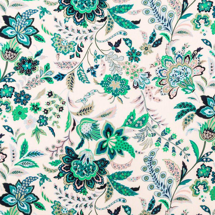 Aqua & Pink Floral Cotton Calico Fabric Calico fabric