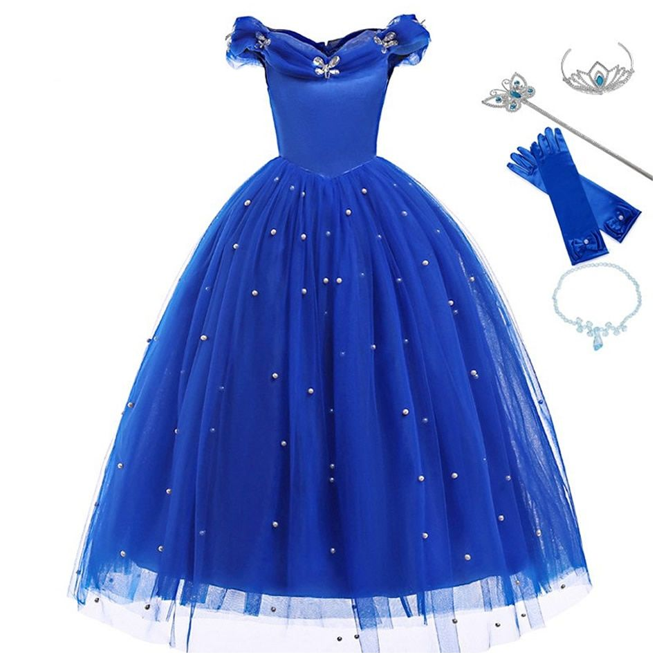 Baby girls clothing halloween Cinderella princesse Cosplay Kids Dress+10buterfly