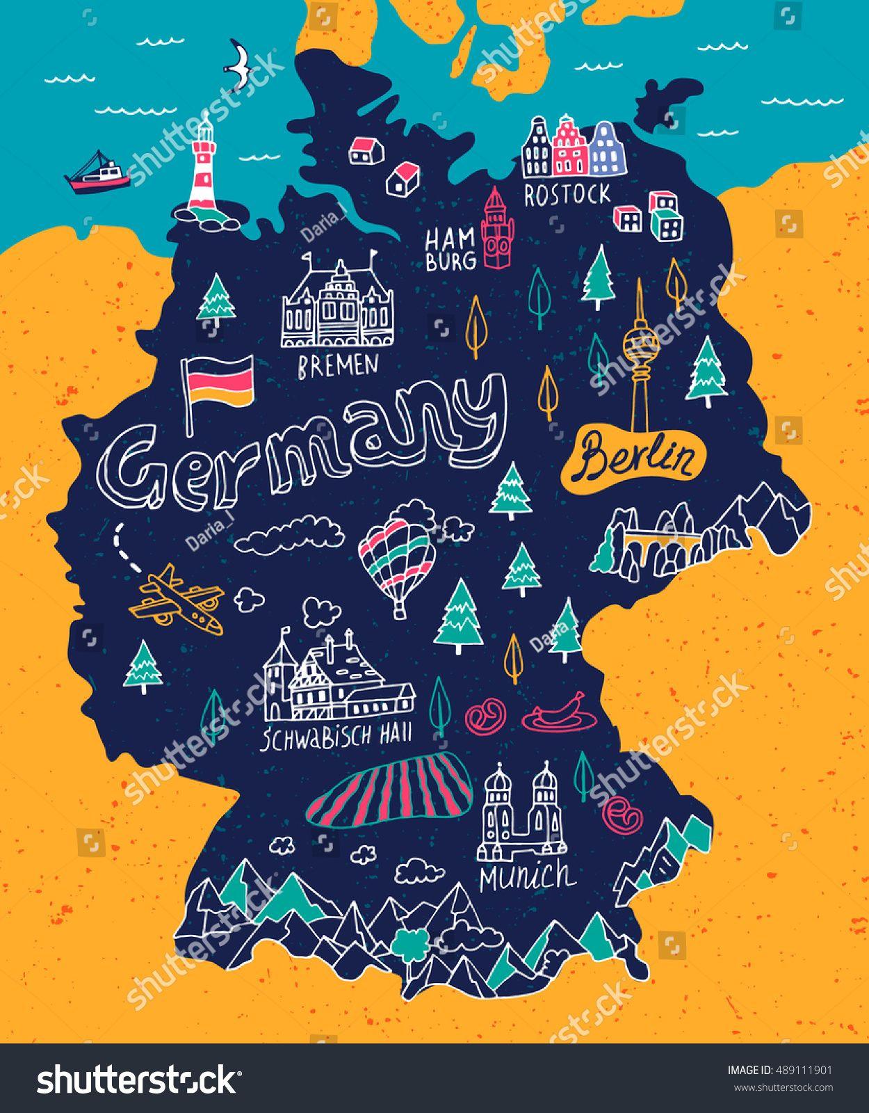 Stock Vector Illustrated Map Of Germany 489111901 Jpg 1250 1600 Illustrierte Karten Deutschland Flagge Deutschlandkarte