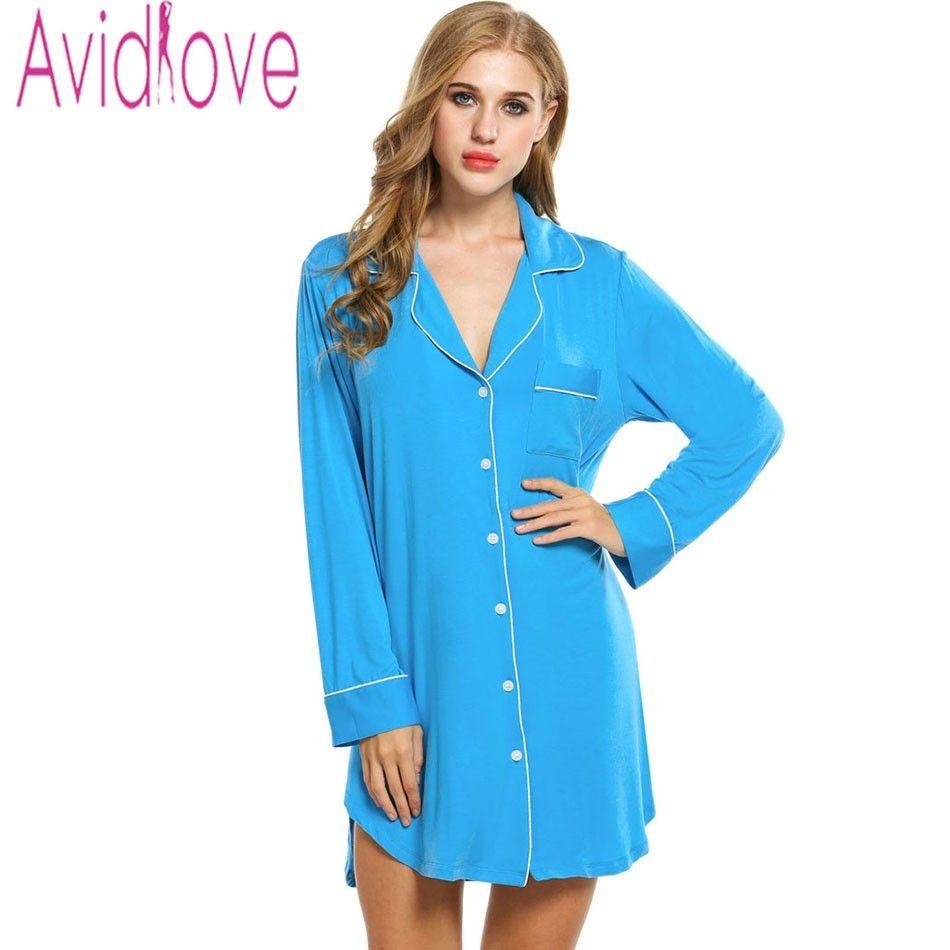 Avidlove Sleepshirts Women Long Sleeve Sleepwear Cotton Nightgown ...