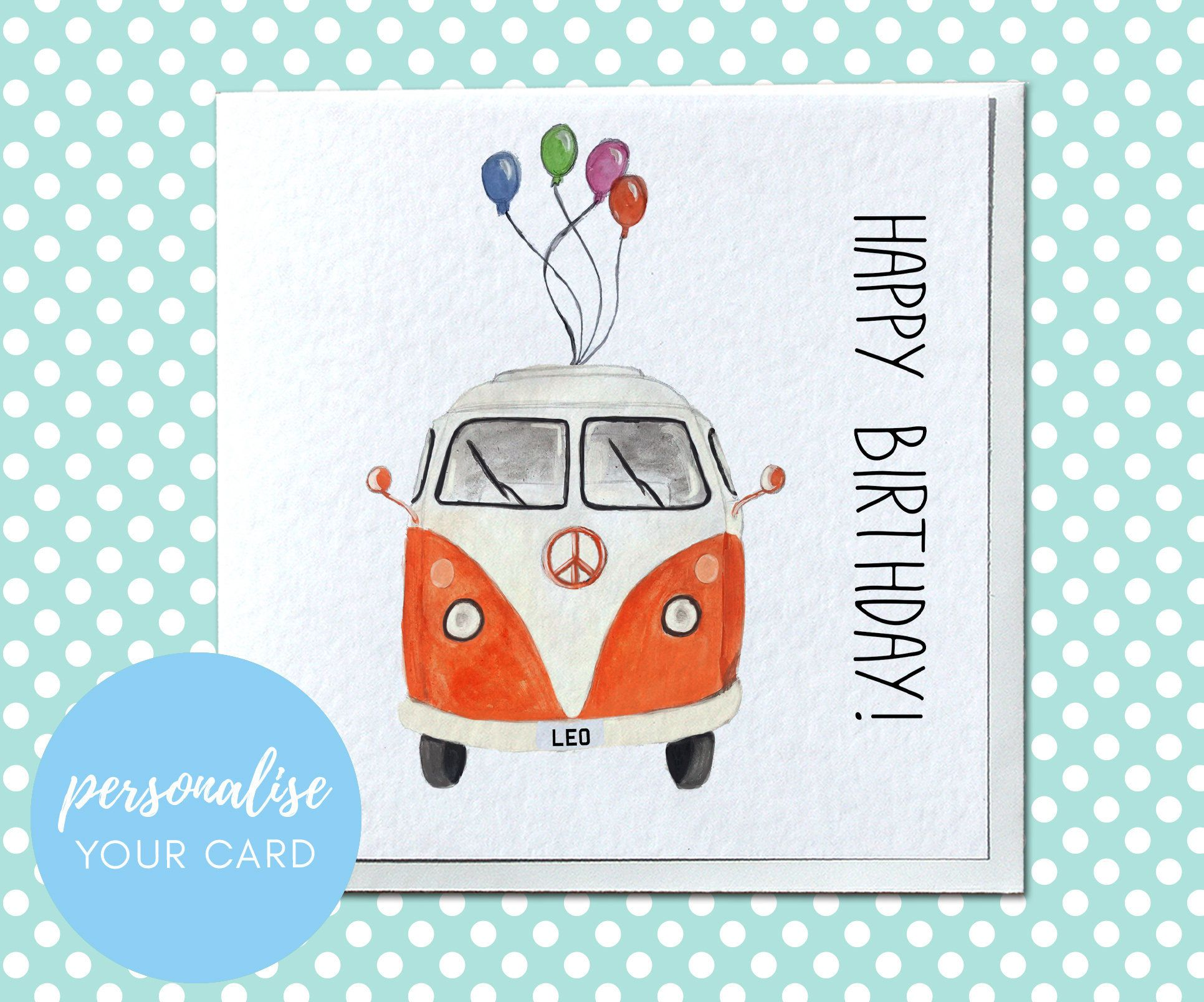 Personalised Classic Camper Van Birthday Card Card For Him Etsy Watercolor Birthday Cards Cards Handmade Homemade Birthday Cards
