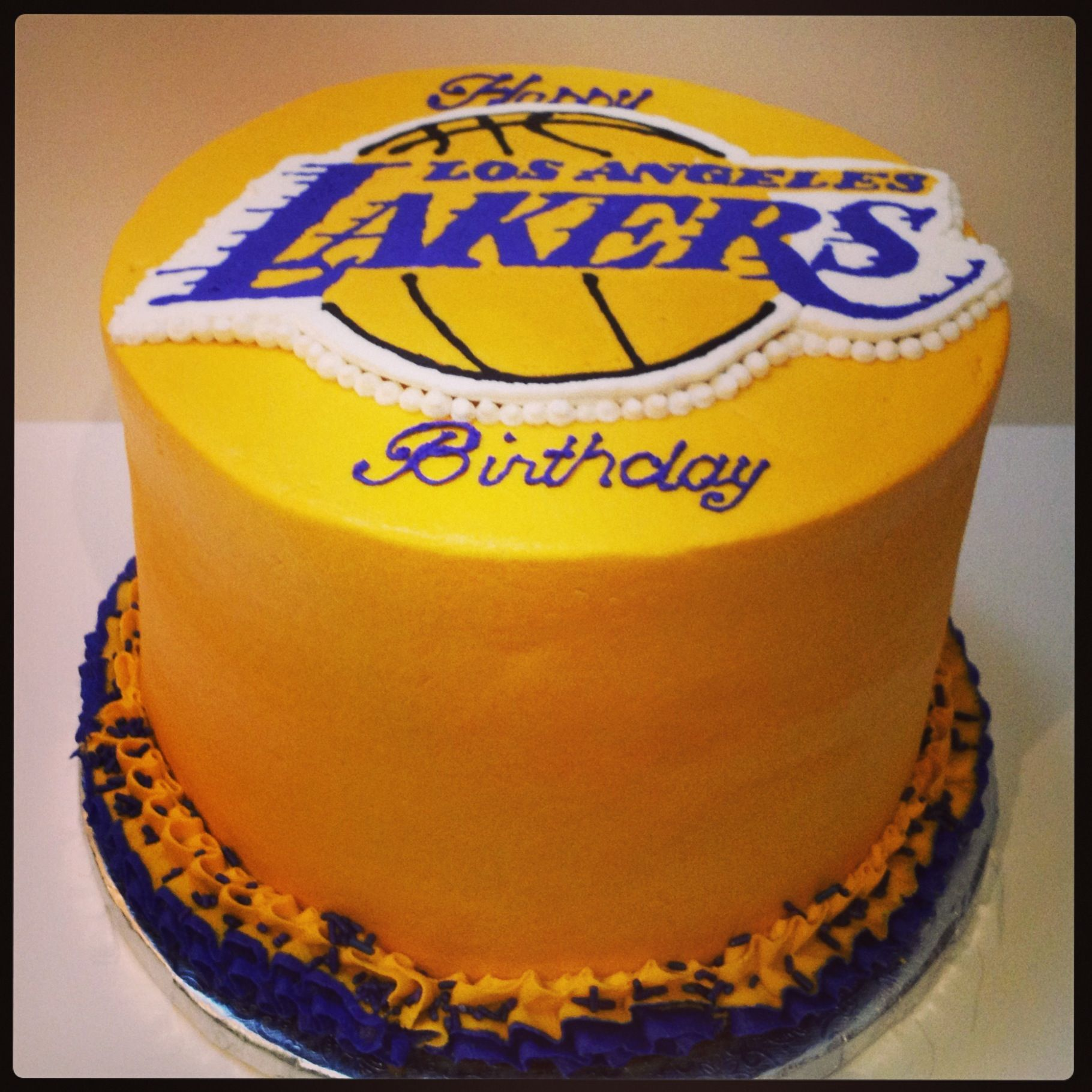 Outstanding Lakers Buttercream Cake Rich Hersheys Black Out Cake Baseball Funny Birthday Cards Online Sheoxdamsfinfo